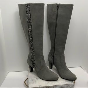 Alex Marie Gray Suede Embellished Boots Size 6